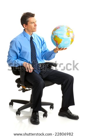business man  with globe. Isolated over white background - stock photo