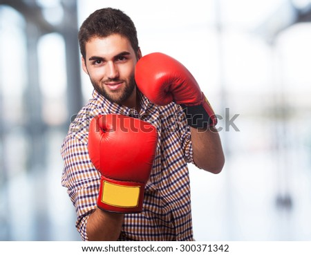 business man with gloves - stock photo