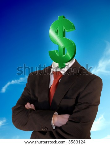 business man with green dollar symbol instead of head in front of a perfect blue sky
