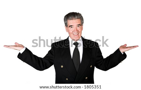 business man with hands open over white
