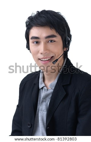 Business man with headset at call center office - stock photo