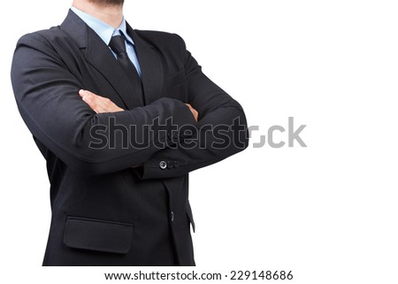 Business man with his arms crossed isolated on white background with clipping path - stock photo