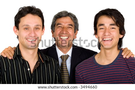 Business man with his sons all looking very happy and smiling - isolated over a white background - stock photo