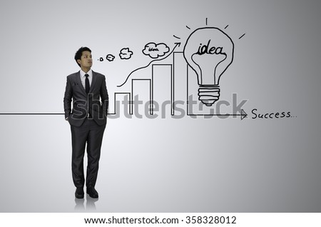 Business man with idea drawing  - stock photo