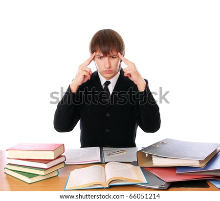 business man with is thinking with hard work. Isolated at white background - stock photo