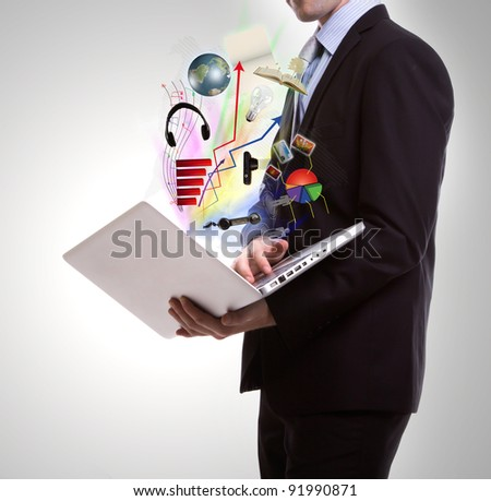 Business man with laptop - stock photo