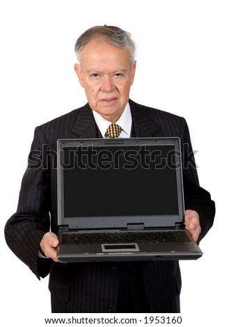 business man with laptop over white background