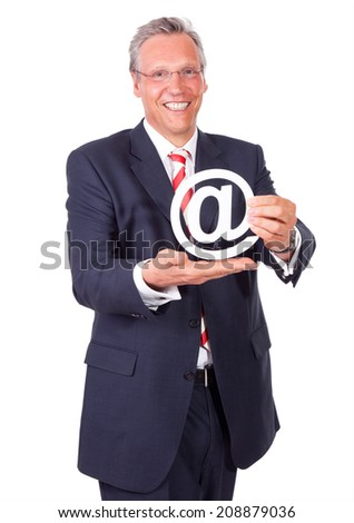 business man with mail sign - stock photo