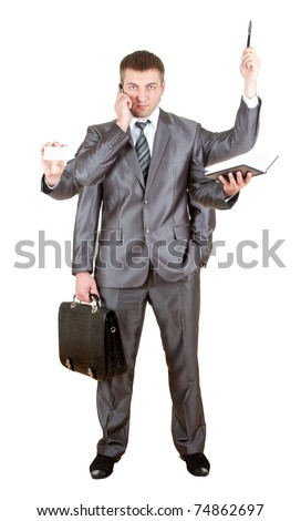 Business man with many hands. Isolated on white - stock photo