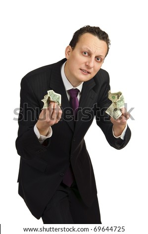 Business man with money, isolated on white background. - stock photo