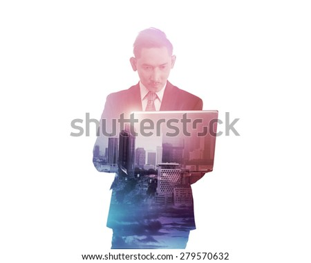 Business man with multiple exposure holding tablet computer. Business technology concept - stock photo