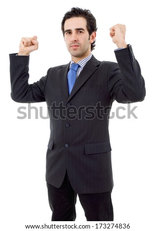 business man with open arms winning, isolated - stock photo