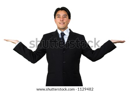 business man with palms up, good for comparing products or to represent balance in business - stock photo