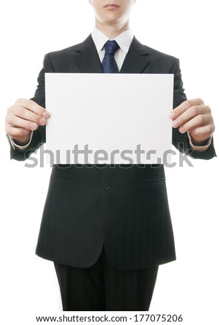 Business man with paper in suit on white background.