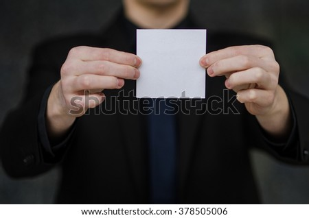 Business man with paper to write something