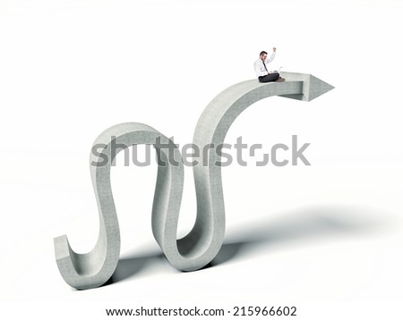 business man with pc on abstract concrete arrow - stock photo