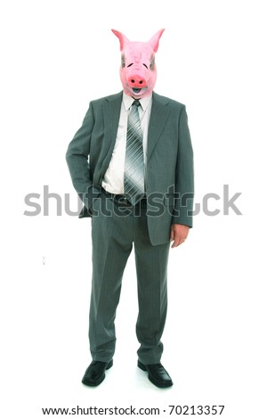 business man with piggy mask - stock photo