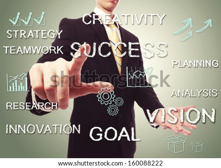 Business man with success concept texts with cartoon - stock photo
