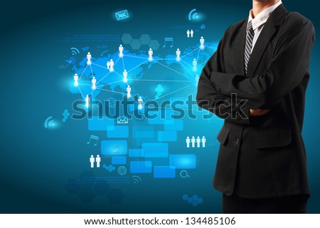 Business man with technology business concept, Creative network information process diagram - stock photo
