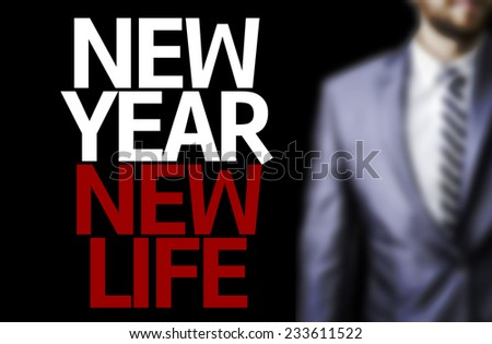Business man with the text Great Ideas New Year New Life in a concept image - stock photo