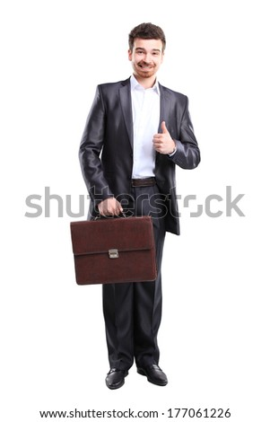 Business man with thumbs up gesture and briefcase standing on white background
