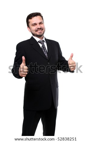 business man with thumbs up isolated over white - stock photo