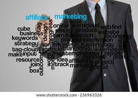 Business man with virtual interface of affiliate marketing wordcloud