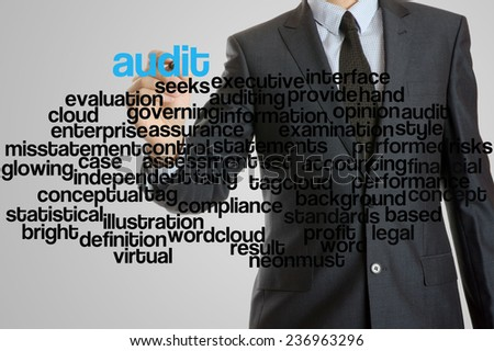 Business man with virtual interface of audit wordcloud