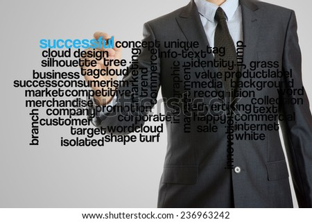 Business man with virtual interface of successful wordcloud