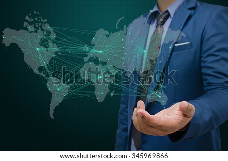 business man with visual world map screen , business concept - stock photo