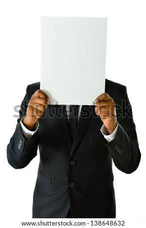 Business Man with White Card - stock photo