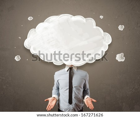 Business man with white cloud on his head concept on grungy background - stock photo