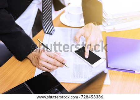 Business man working on a table