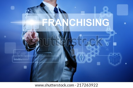 Business man working on digital virtual screen press on button franchising - stock photo
