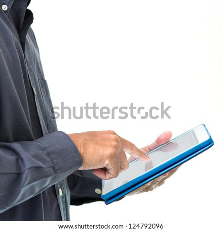 Business man working with a tablet pc isolated on white background - stock photo