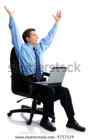 business man  working with laptop. Over white background