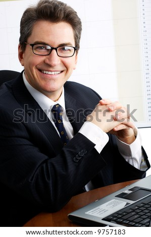 business man  working with laptop. Over white background - stock photo