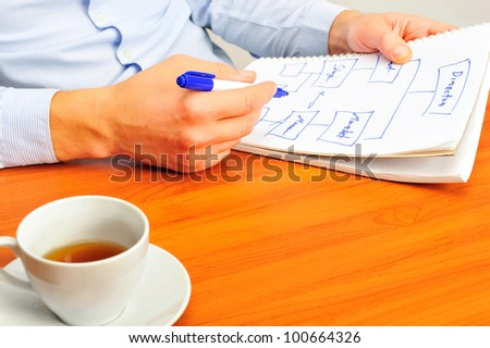 Business man working with papers at his workplace - stock photo