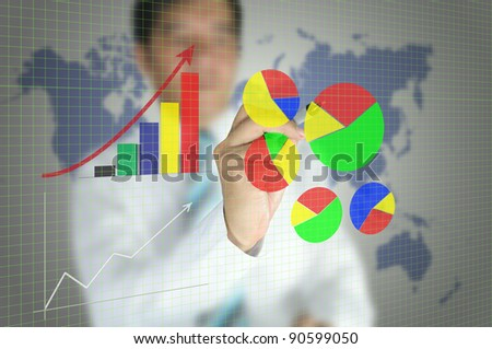 business man write graph on touch screen interface - stock photo