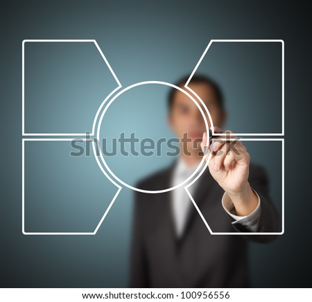 business man writing blank diagram of one core and four related component - stock photo