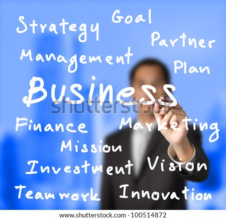 business man writing business concept with blue building background - stock photo