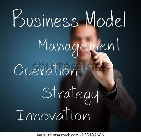 business man writing business model - stock photo