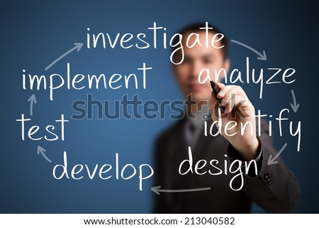 business man writing business process concept - stock photo