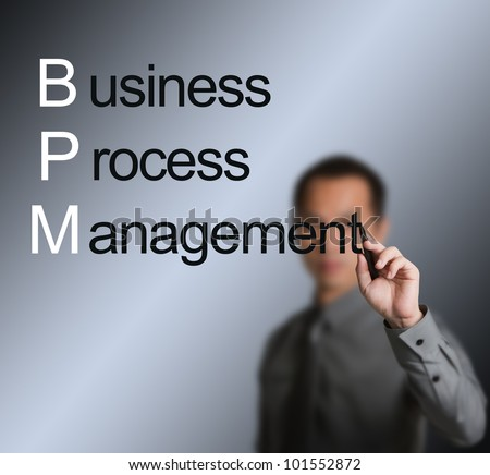 business man writing business process management concept ( BPM ) on whiteboard - stock photo