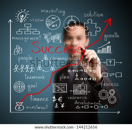 business man writing business success by many  process - stock photo