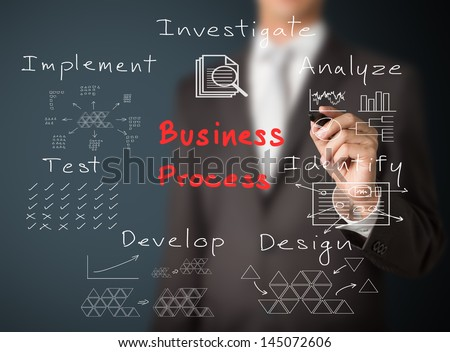 business man writing concept of  business process - stock photo