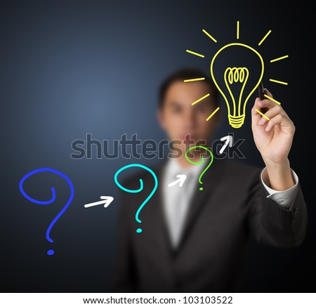 business man writing concept of changing problem to solution - stock photo