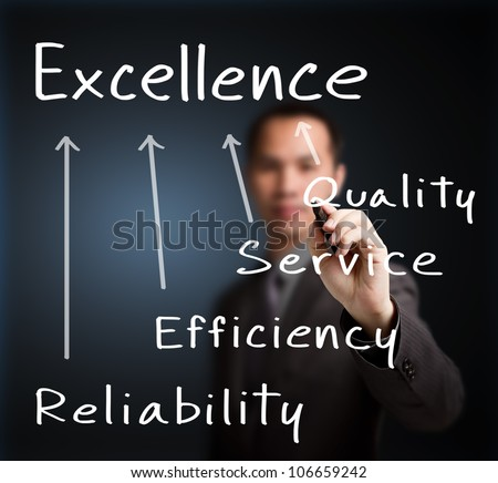 business man writing concept of excellence quality, service, efficiency and reliability - stock photo