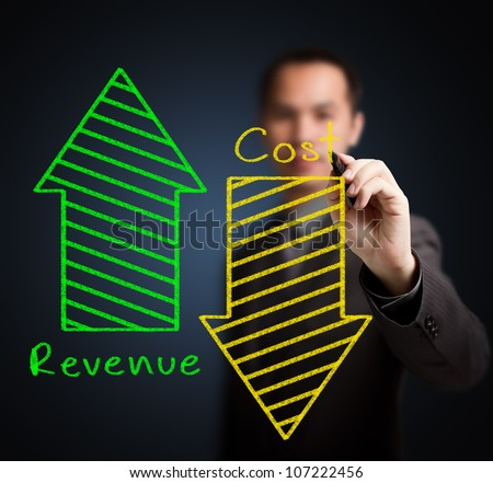 business man writing concept of increased revenue and reduced cost - stock photo