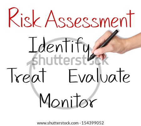 business man writing concept of risk assessment - stock photo